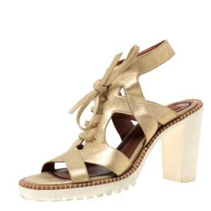 Missoni Metallic Gold Suede Cut Out  Lace Up Sandals Size 39