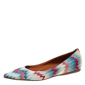 Missoni Multicolor ZIgZag Fabric Pointed Toe Ballet Flats Size 36