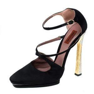 Missoni Black Satin Ankle Strap Sandals Size 40