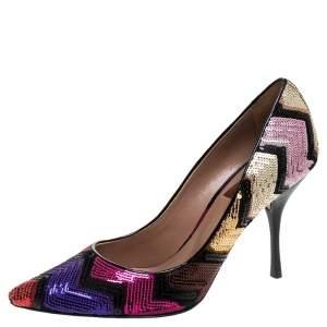 Missoni Multicolor Zigzag Sequins Pointed Toe Pumps Size 37.5