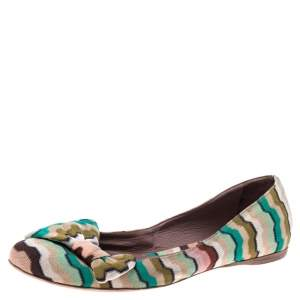 Missoni Multicolor Knitted Fabric Bow Ballet Flats Size 37