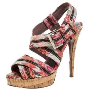 Missoni Multicolor Crochet Fabric And Leather Trim Ankle Strap Platform Sandals Size 38