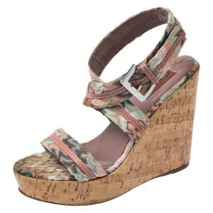 Missoni Multicolor Crochet Fabric And Leather Cork Wedge Slingback Sandals Size 37