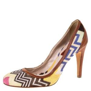 Missoni Multicolor Patterned Knit Fabric Pumps Size 38