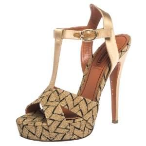 Missoni Gold/Black Knit Fabric And Satin T-Strap Platform Sandals Size 36