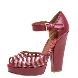 Missoni Maroon Leather And PVC Ankle Strap Platform Peep Toe Sandals Size 40
