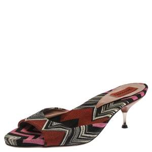 Missoni Multicolor Knit Fabric Open Toe Slip On Sandals Size 38