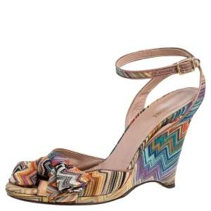 Missoni Multicolor Knit Fabric Knotted Bow Wedge Ankle Strap Sandals Size 39
