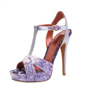 Missoni Purple Lurex And Satin T Strap Platform Sandals Size 38