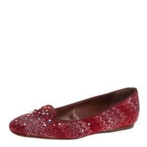 حذاء باليرينا فلات ميزوني قماش جاكار مزخرف ولوريكس أبيض / أحمر مقاس 38