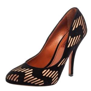 Missoni Black Laser Cut Suede And Pink Satin Round Toe Pumps Size 37.5
