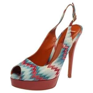 Missoni Multicolor Knit Fabric Peep Toe Platform Slingback Sandals Size 40