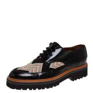 Missoni Black/Beige Patent Leather And Mesh Derby Size 37.5