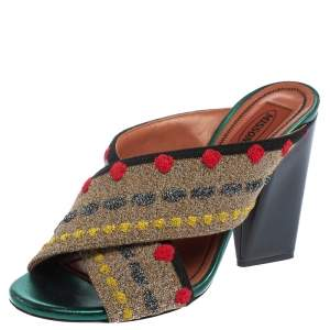Missoni Multicolor Fabric And Leather  Cross Strap Mule Sandals Size 37