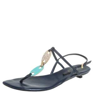 Missoni Blue Leather Thong Sandals Size 37
