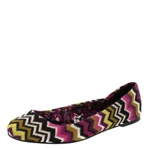 Missoni For Target Multicolor Chevron Knit Fabric Ballet Flats Size 40
