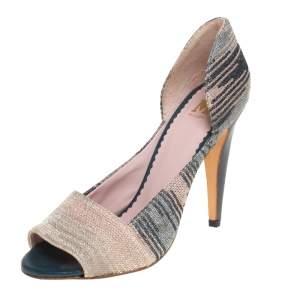 Missoni Multicolor Stretch Knit Fabric Open Toe Pumps Size 39