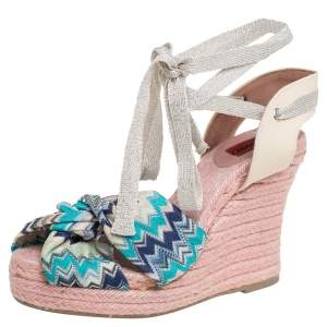 Missoni Multicolor Knit Fabric And Canvas Knotted Espadrille Wedge Ankle Wrap Sandals Size 38