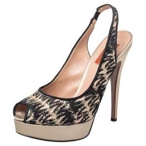 Missoni Multicolor Lace And Satin Platform Peep Toe Slingback Sandals Size 38.5