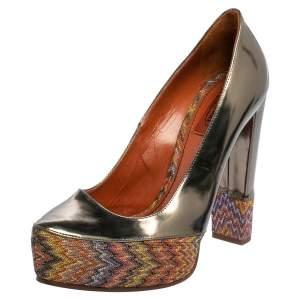 Missoni Multicolor Knit Fabric and Leather Block Heel Platform Pumps Size 39