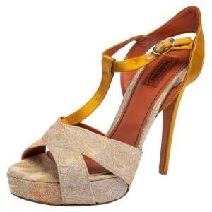 Missoni Multicolor Knit Fabric and Satin T-Strap Platform Sandals Size 40