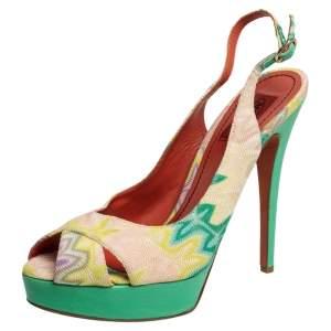 Missoni Multicolor Knit Fabric Slingback Peep Toe Platform Sandals Size 40