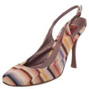 Missoni Multicolor Knit Fabric Slingback Sandals Size 37
