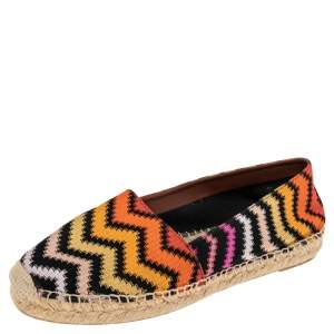 Missoni Multicolor Patterned Knit Fabric Espadrille Flats Size 39