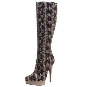 Missoni Black and Gold Patterned Knit Fabric Knee High Boots Size 37