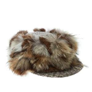 Missoni Brown Coyote and Rabbit Fur Newsboy Cap Size M