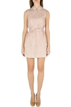 Miu Miu Cipria Pink Tela Paisley Print Cotton Belted Sleeveless Shift Dress S