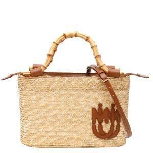 Miu Miu Brown Straw Bamboo Tote Bag