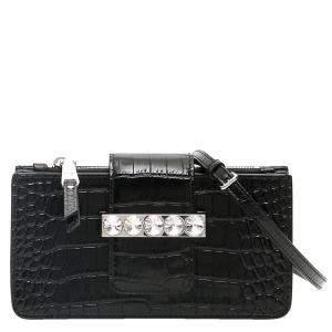 Miu Miu Black Leather Crystal Mini Shoulder Bag