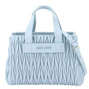 Miu Miu Light Blue Matelasse Leather Bag