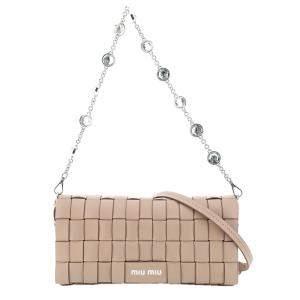 Miu Miu Light Pink Leather Woven Crystals Mini Bag