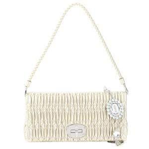 Miu Miu Beige Leather Crystal Shoulder Bag