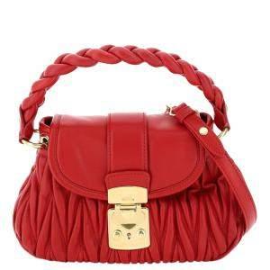 Miu Miu Red leather Matelasse Coffer Bag