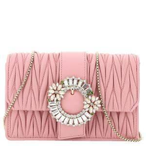Miu Miu Pink Leather My Miu Clutch Bag