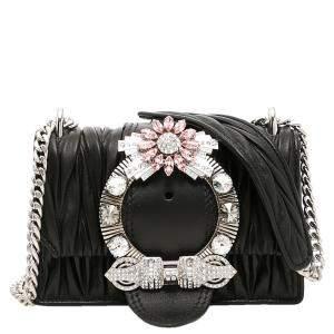 Miu Miu Black Leather Miu Lady Crossbody Bag