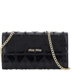 Miu Miu Black Leather Patchwork Chain Wallet