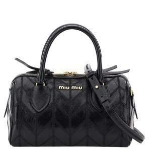 Miu Miu Black Leather Boston Patchwork Bag