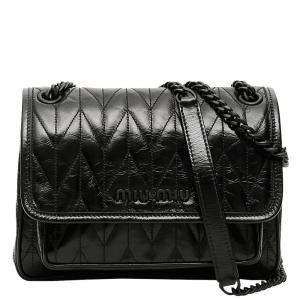Miu Miu Black Quilted Calfskin Leather Shine Bag