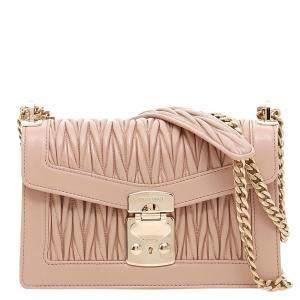 Miu Miu Beige Leather Medium Miu Confidential Shoulder Bag