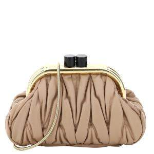 Miu Miu Biege Belle Nappa Leather Mattress Bag