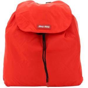 Miu Miu Orange Nylon Logo Backpack