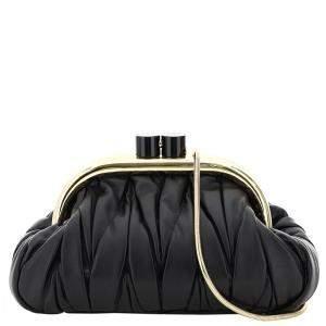 Miu Miu Black Matelasse Nappa Leather Belle Bag