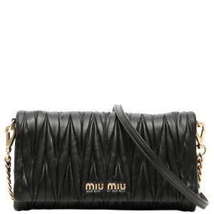 Miu Miu Black Matelasse Leather Clutch with Strap Bag