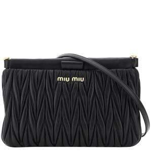 Miu Miu Black Matelasse Leather Mini Bag