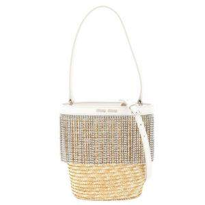 Miu Miu Beige Straw Crystal Fringe Bucket Bag