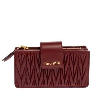 Miu Miu Red Matelasse Leather Phone Bag